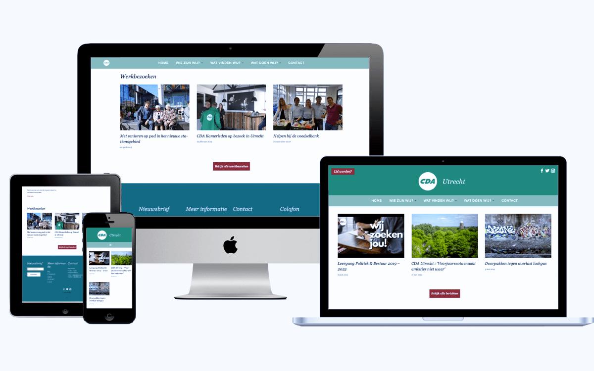 De website van CDA Utrecht op verschillende apparaten