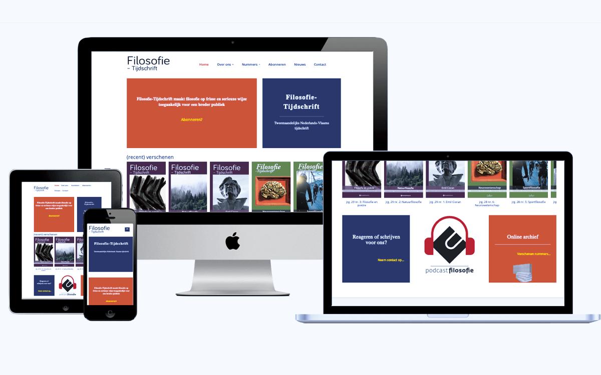De website afgebeeld op verschillende apparaten